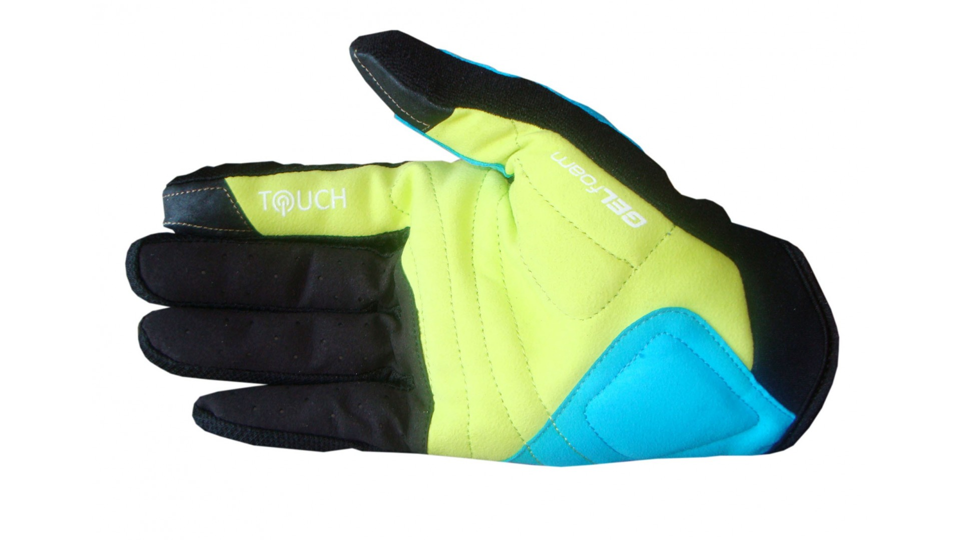 Велоперчатки Ghost c длинными пальцами black/limegreen/cyan год 2015