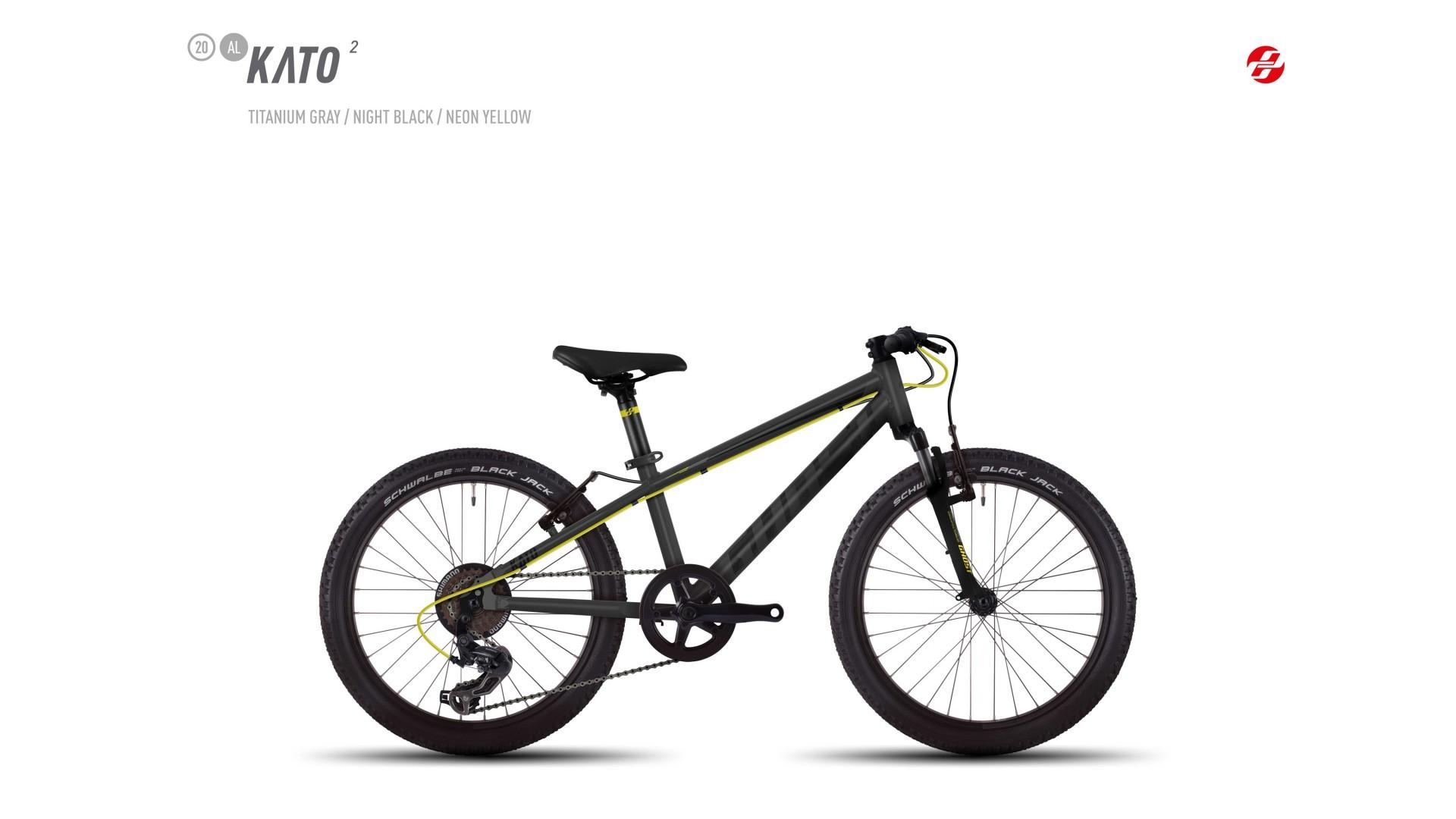 Велосипед GHOST Kato 2 AL 20 titaniumgrey/nightblack/neonyellow год 2017