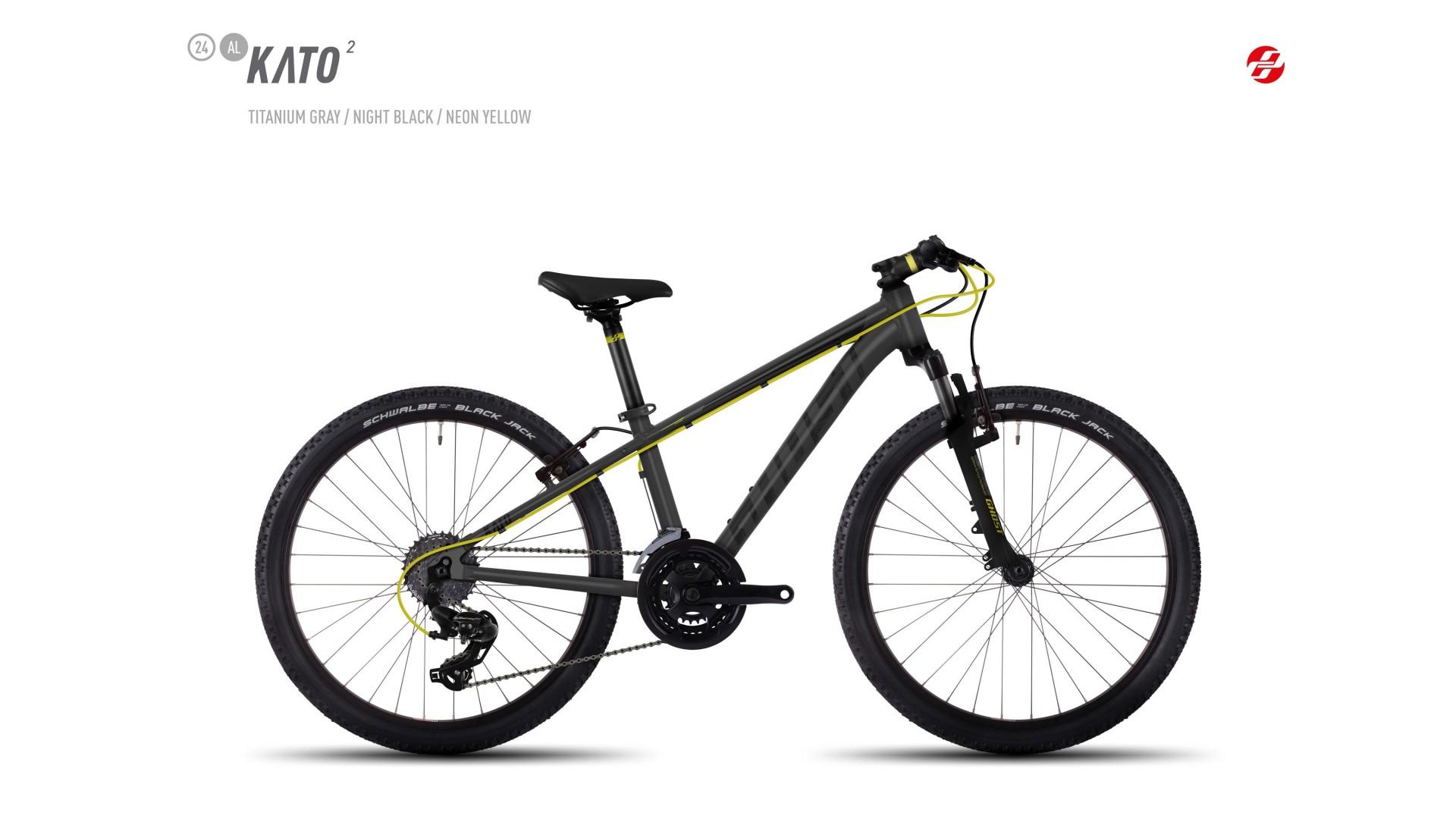 Велосипед GHOST Kato 2 AL 24 titaniumgrey/nightblack/neonyellow год 2017