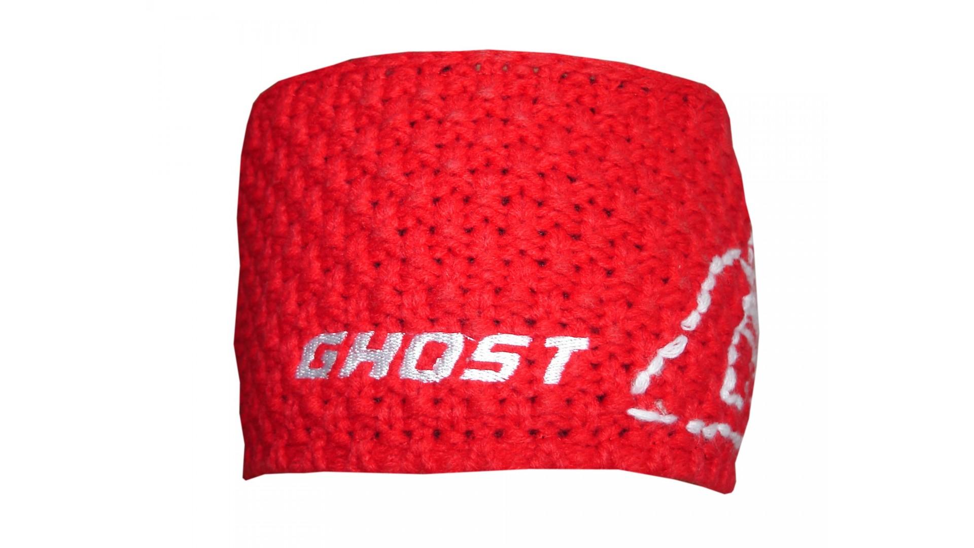 Вязаная повязка на голову Ghost red/white год 2014