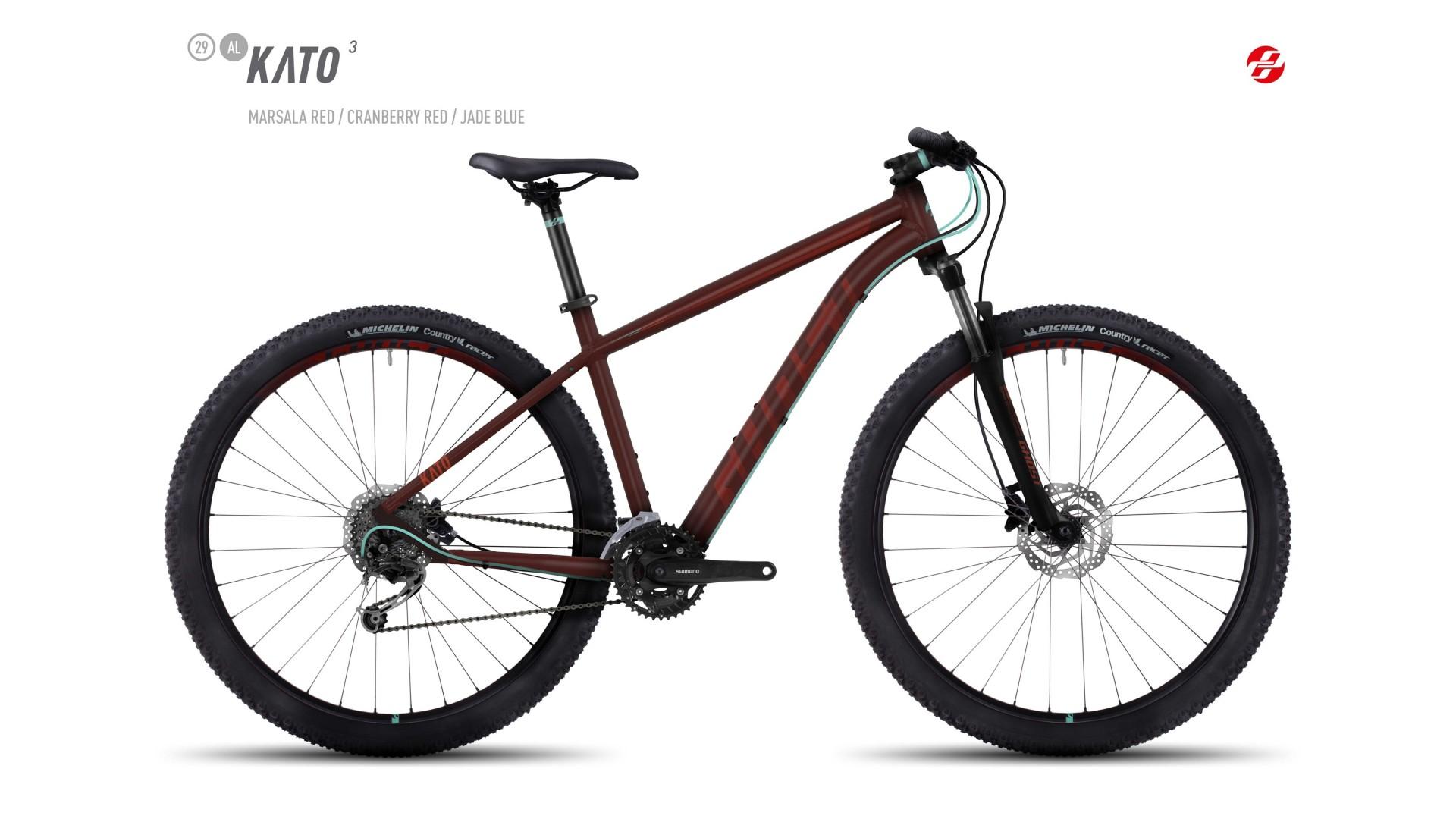 Велосипед GHOST Kato 3 AL 29 marsalared/cranberryred/jadeblue год 2017
