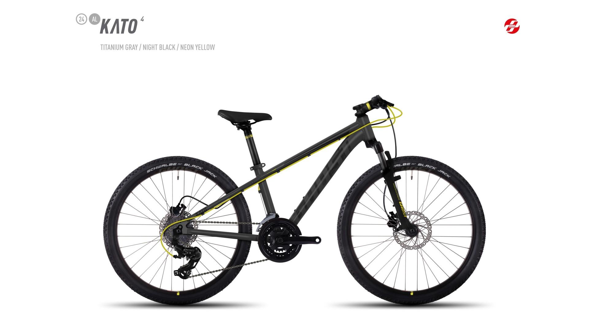 Велосипед GHOST Kato 4 AL 24 titaniumgrey/nightblack/neonyellow год 2017