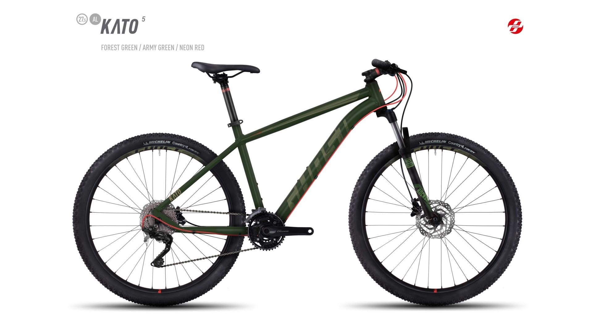 Велосипед GHOST Kato 5 AL 27.5 forestgreen/armygreen/neonred год 2017