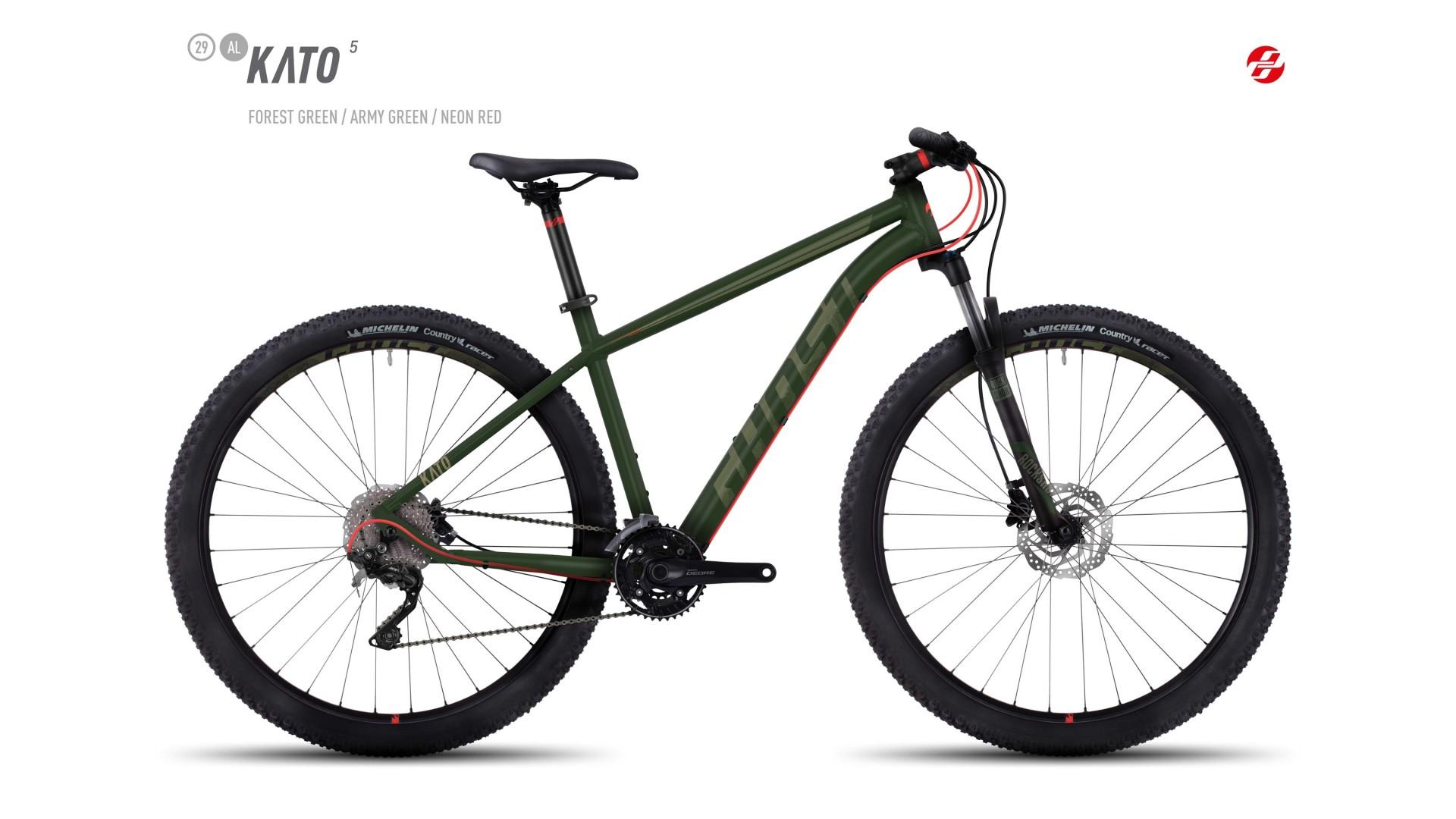 Велосипед GHOST Kato 5 AL 29 forestgreen/armygreen/neonred год 2017