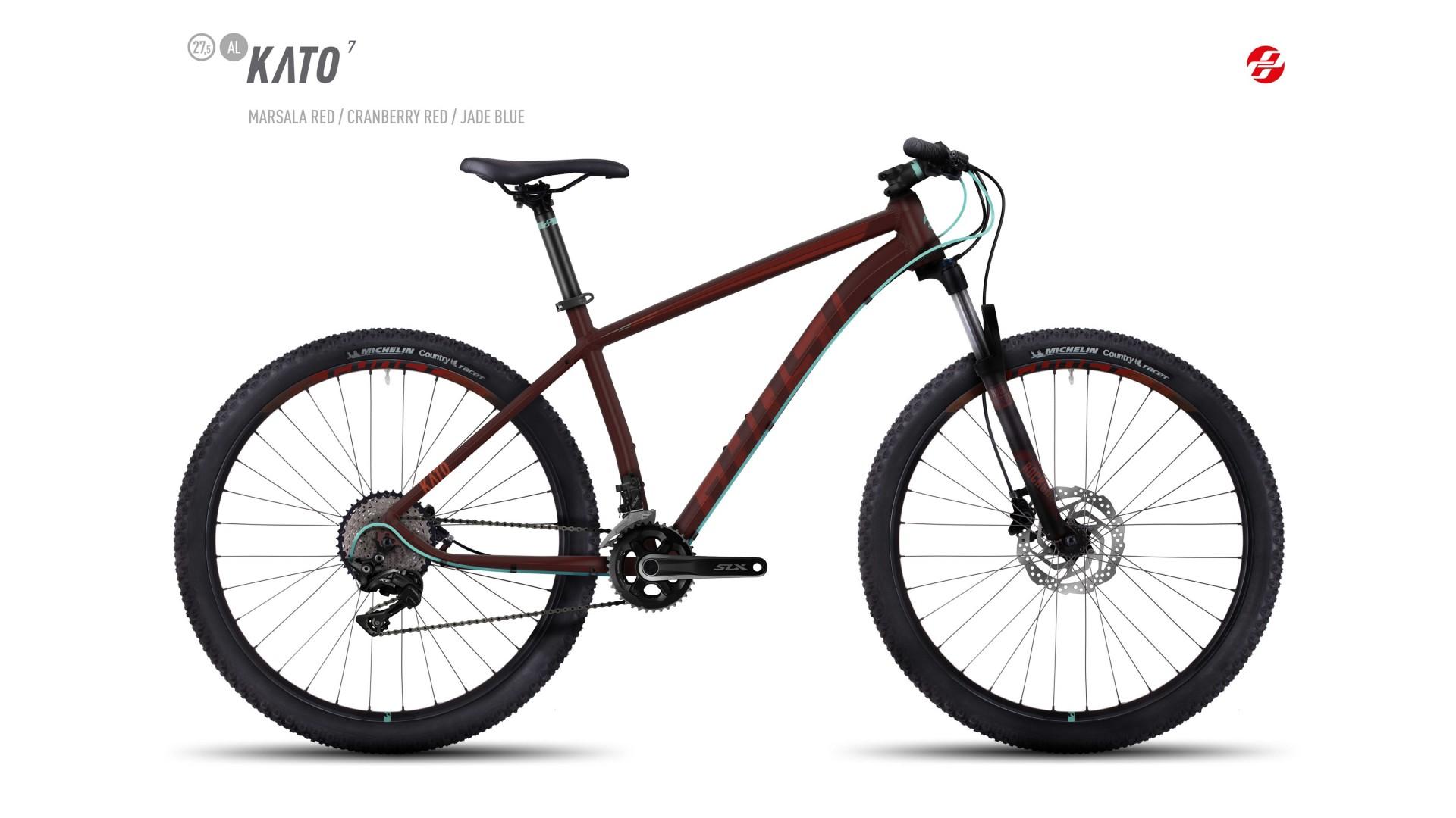 Велосипед GHOST Kato 7 AL 27.5 marsalared/cranberryred/jadeblue год 2017