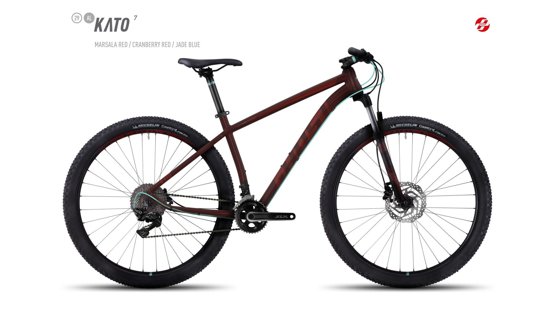 Велосипед GHOST Kato 7 AL 29 marsalared/cranberryred/jadeblue год 2017