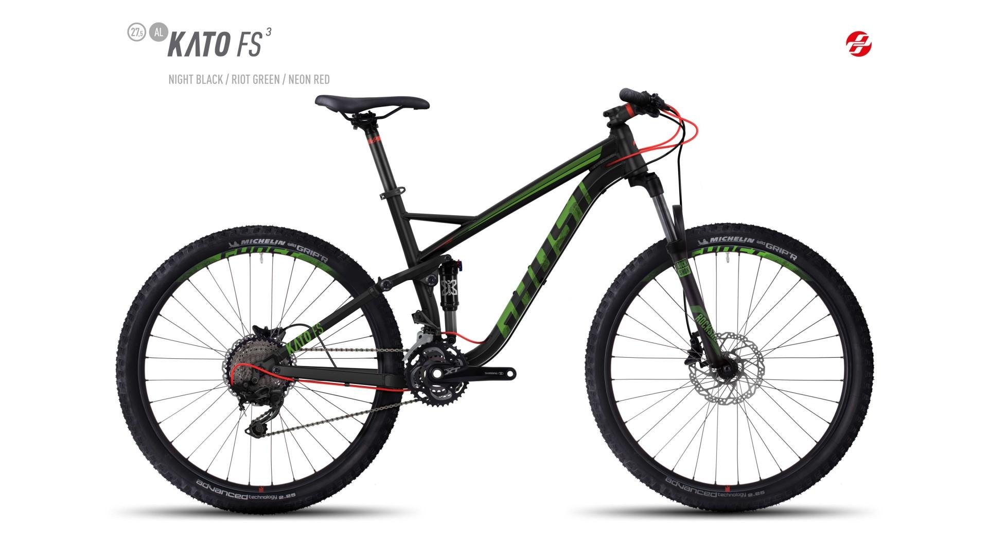 Велосипед GHOST Kato FS 3 AL 27.5 nightblack/riotgreen/neonred год 2017