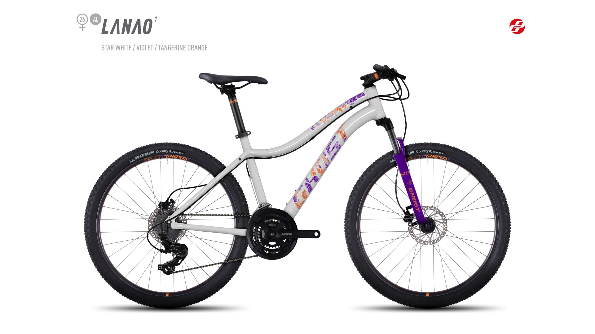 Велосипед GHOST Lanao 1 AL 26 starwhite/violet/tangerineorange год 2017