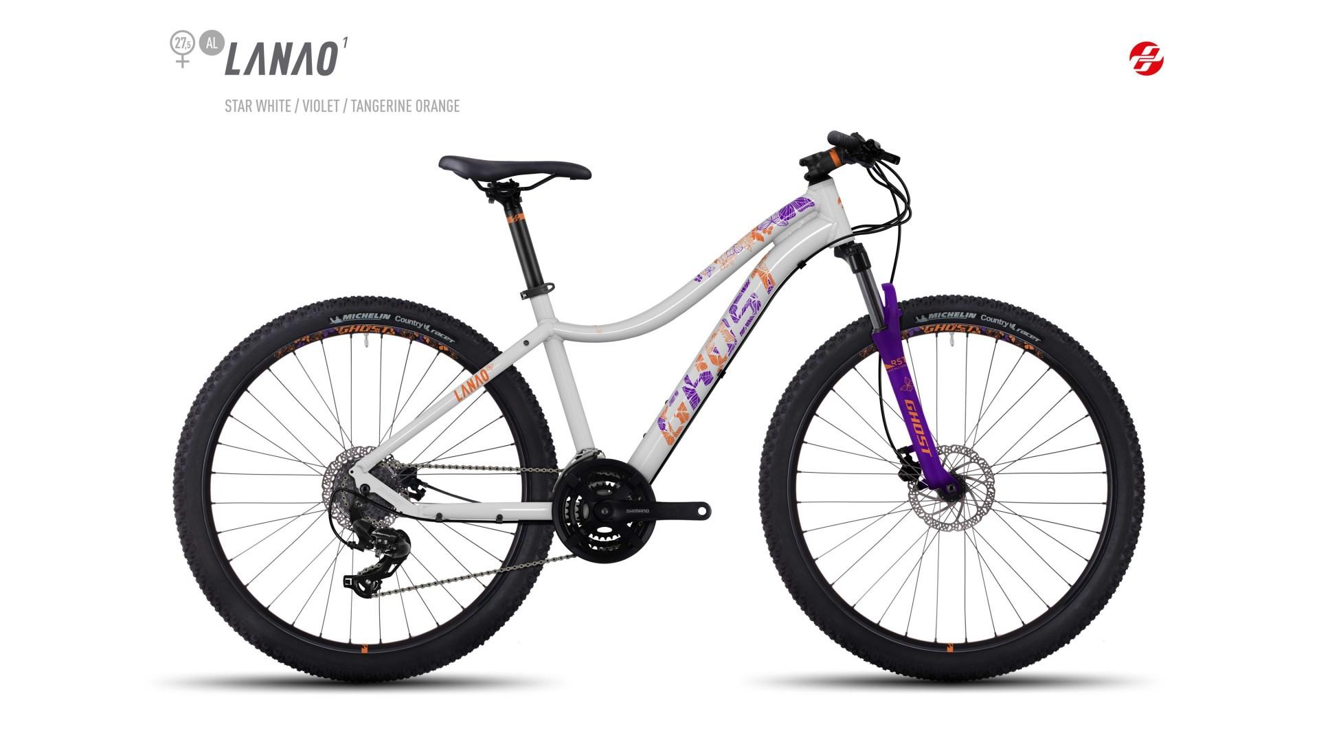 Велосипед GHOST Lanao 1 AL 27.5 starwhite/violet/tangerineorange год 2017