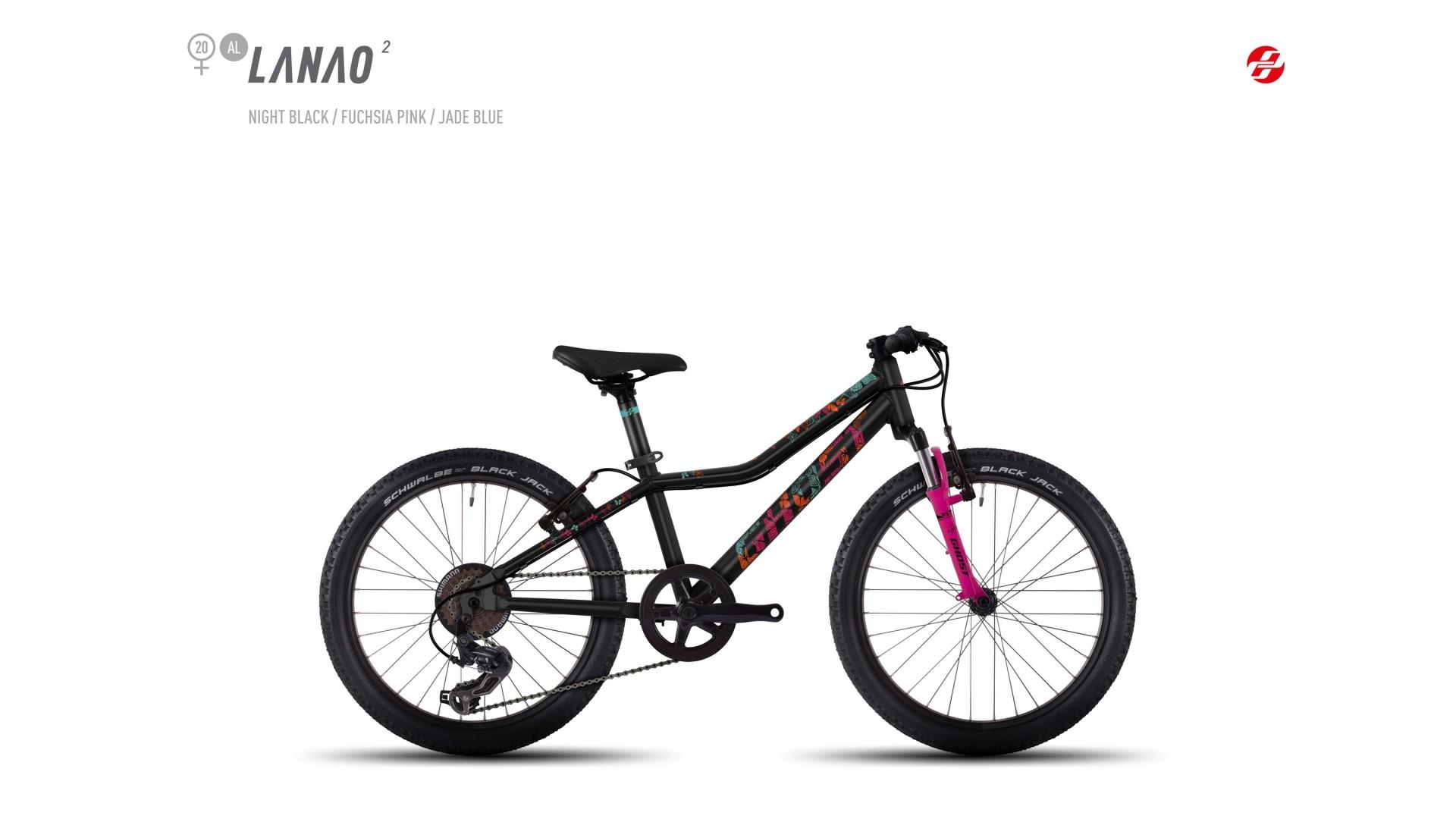 Велосипед GHOST Lanao 2 AL 20 nightblack/fuchsiapink/jadeblue год 2017