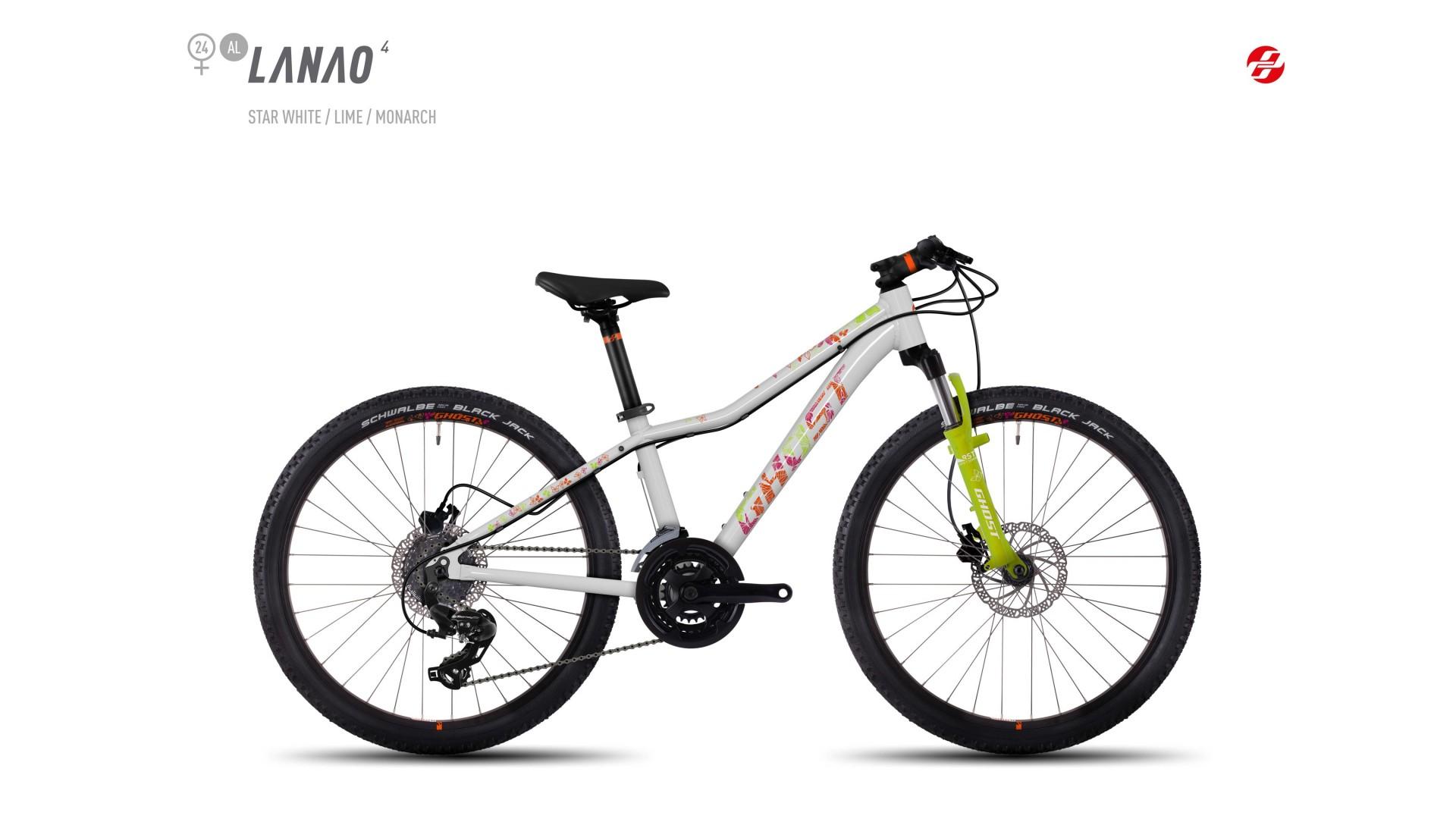 Велосипед GHOST Lanao 4 AL 24 starwhite/limegreen/monarchorange год 2017