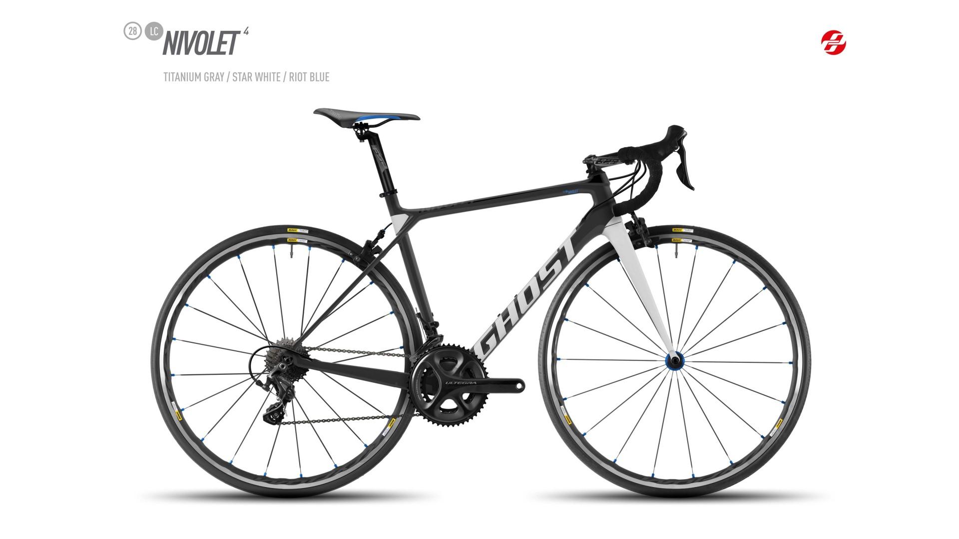 Велосипед GHOST Nivolet 4 LC 28 titaniumgrey/starwhite/riotblue год 2017