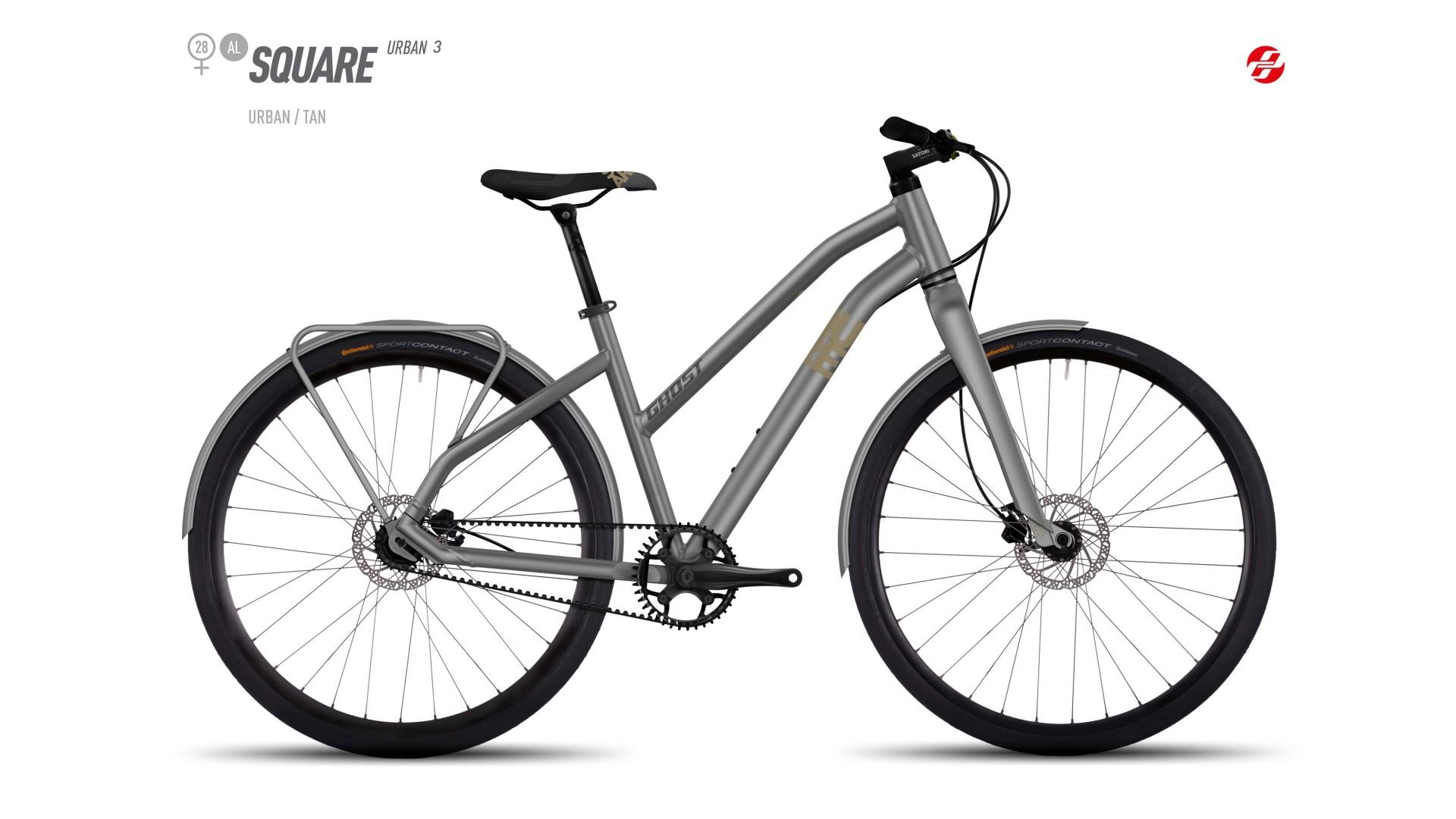 Велосипед GHOST SQUARE Urban 3 AL W 28 urban/tan/nightblack год 2017