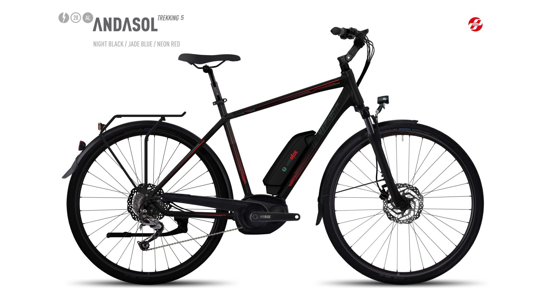 Электровелосипед GHOST Andasol Trekking 5 AL 28 nightblack/jadeblue/neonred год 2017