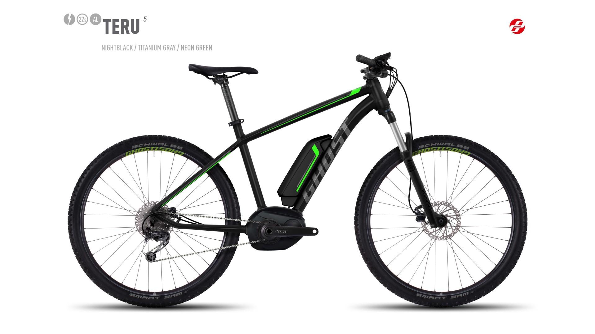 Электровелосипед GHOST Teru 5 AL 27.5 nightblack/titaniumgrey/neongreen год 2017