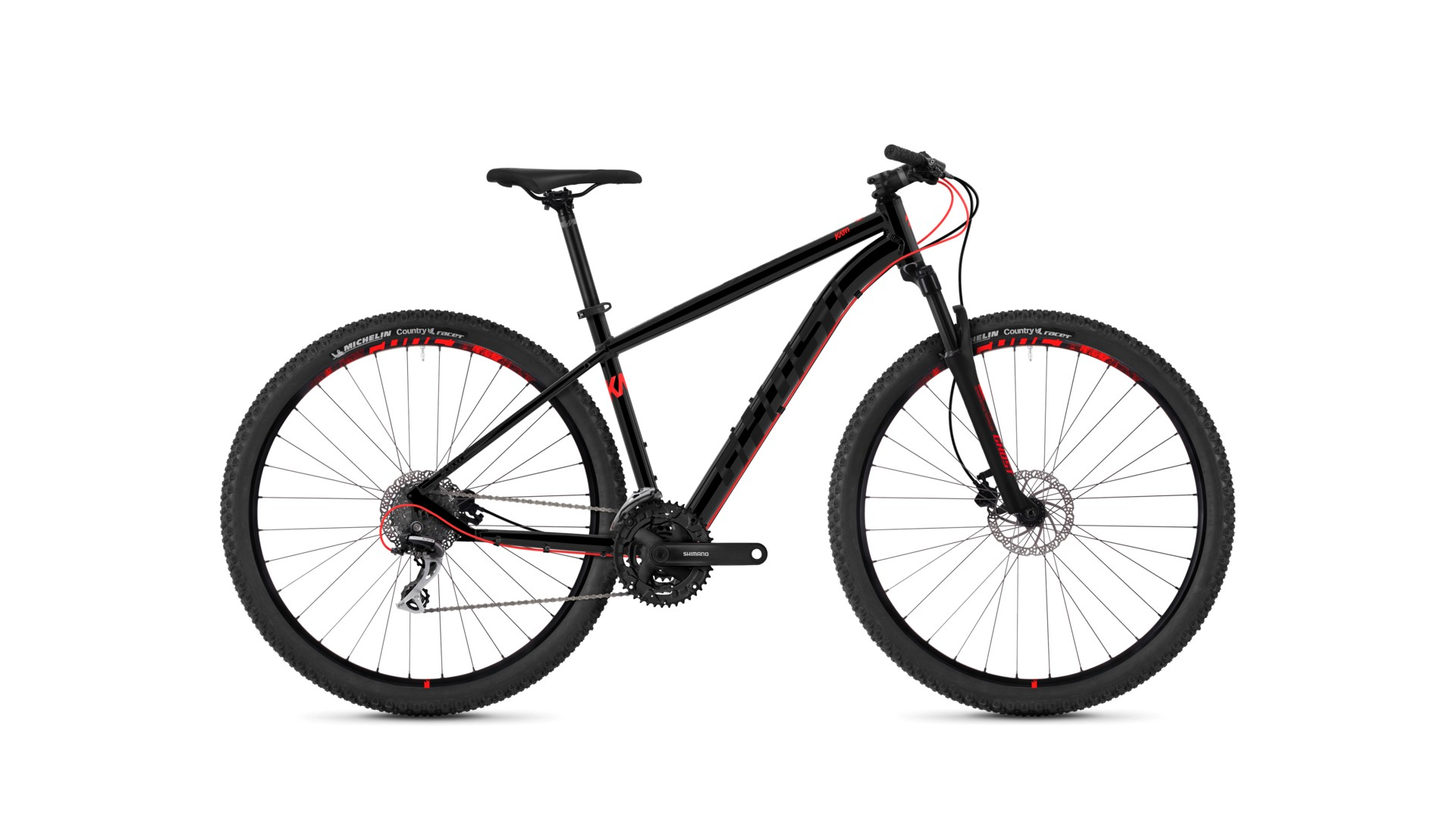 Велосипед GHOST Kato 2.9 AL U nightblack/neonred год 2018