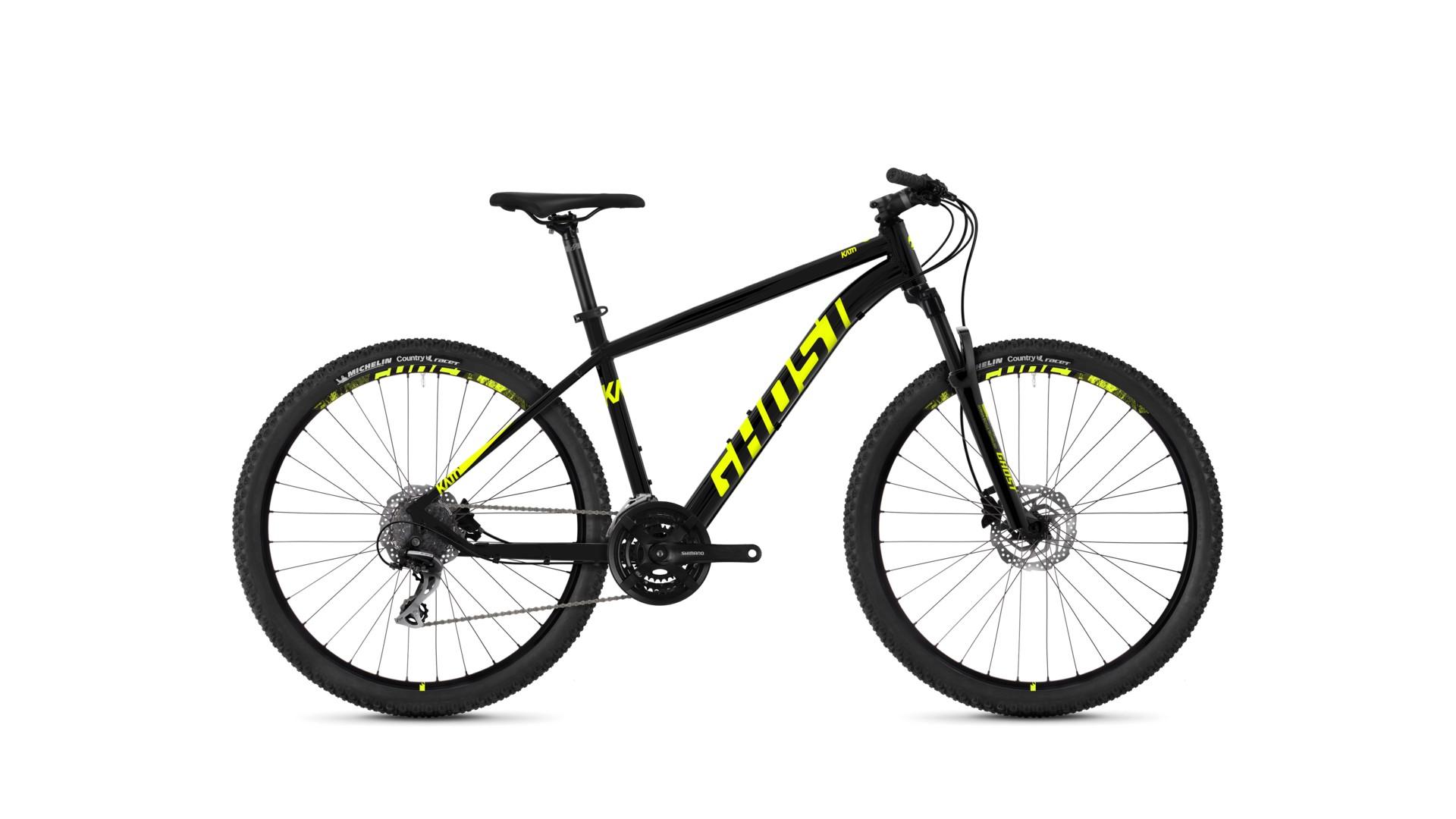 Велосипед GHOST Kato 3.7 AL U nightblack/neonyellow год 2018