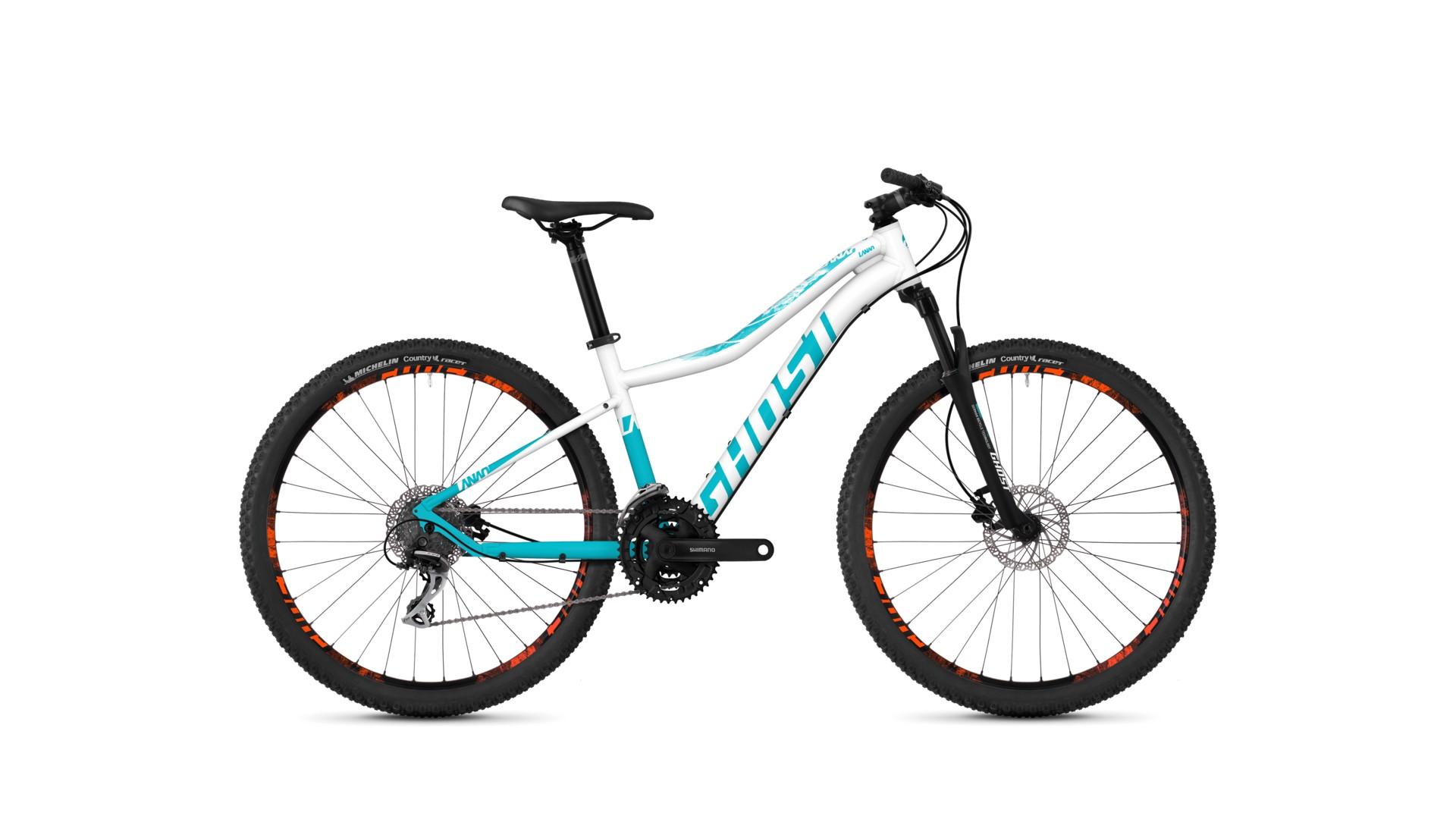 Велосипед GHOST Lanao 2.7 AL W starwhite/electricblue/neonorange год 2018
