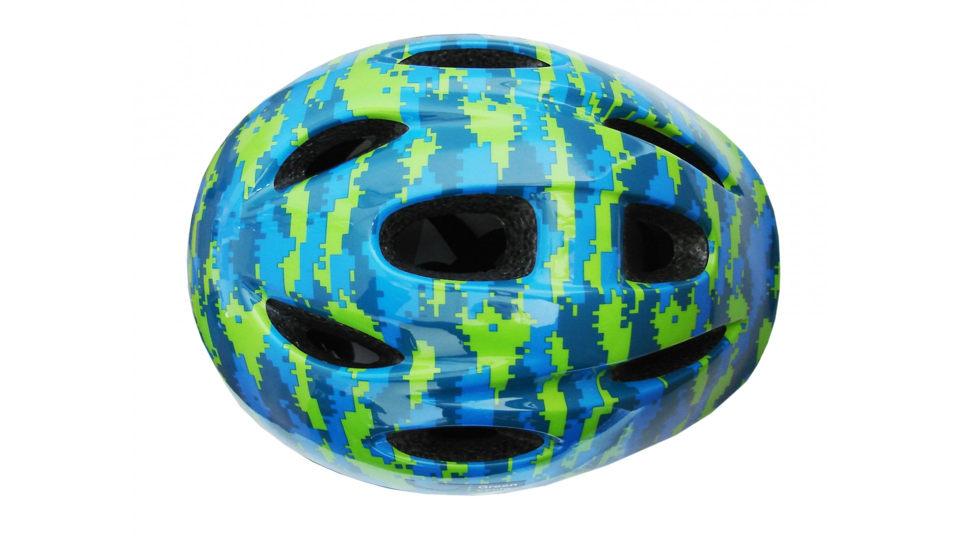 Велошлем детский Green Cycle Pixel синий/голубой/лайм