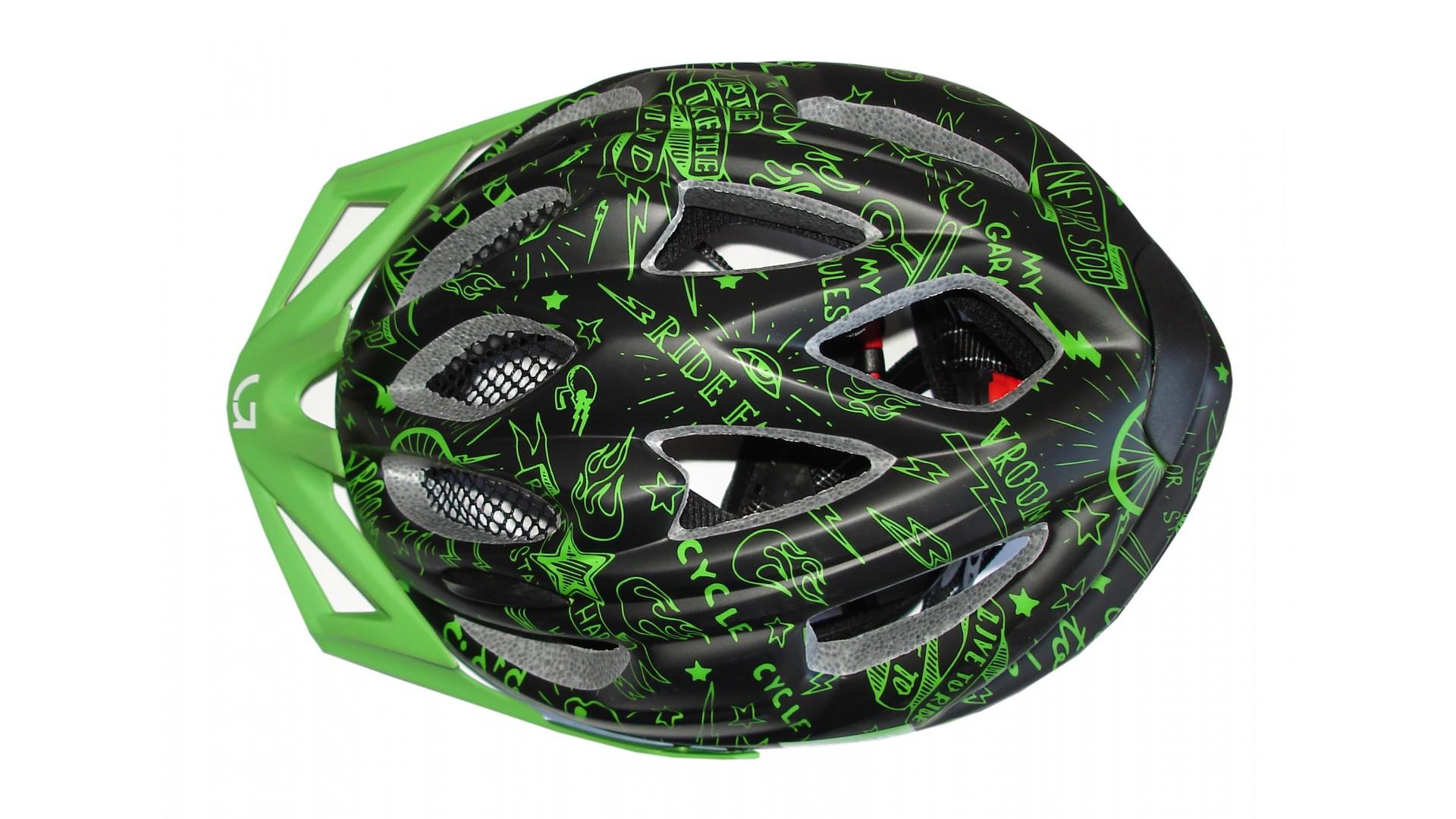 Велошлем детский Green Cycle Fast Five черно-зеленый