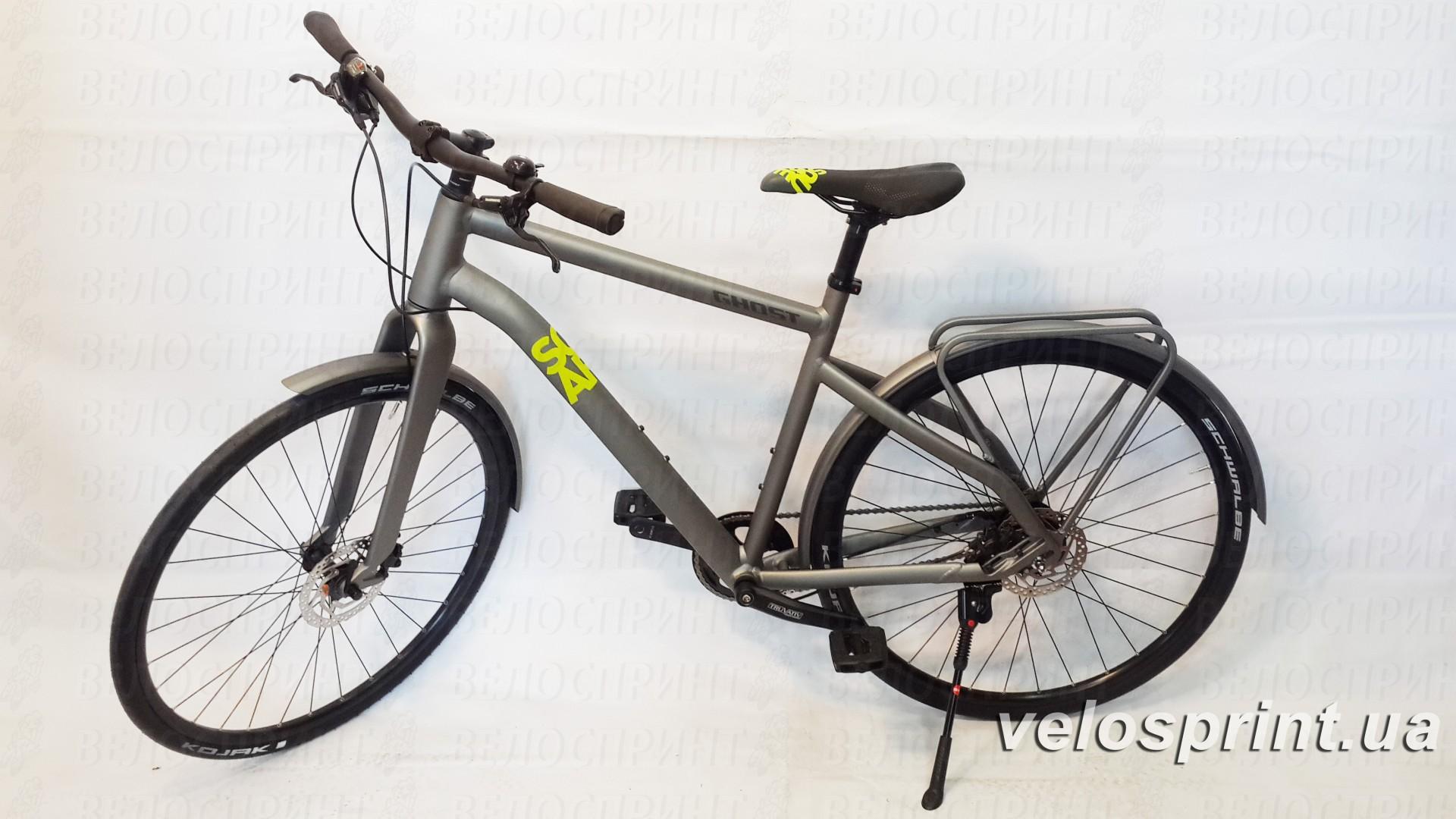 Велосипед GHOST Square Urban 4 grey/limegreen общий вид год 2016