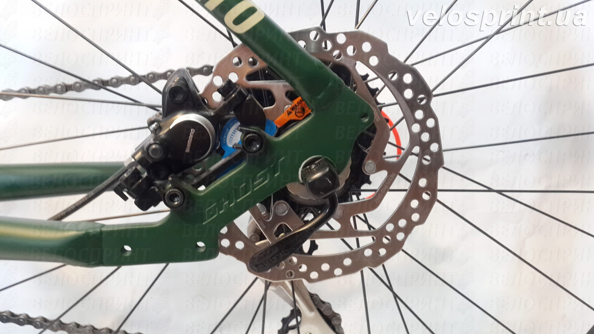 Велосипед GHOST Kato 2 AL 27.5 forestgreen/armygreen/neonred задний тормоз год 2017