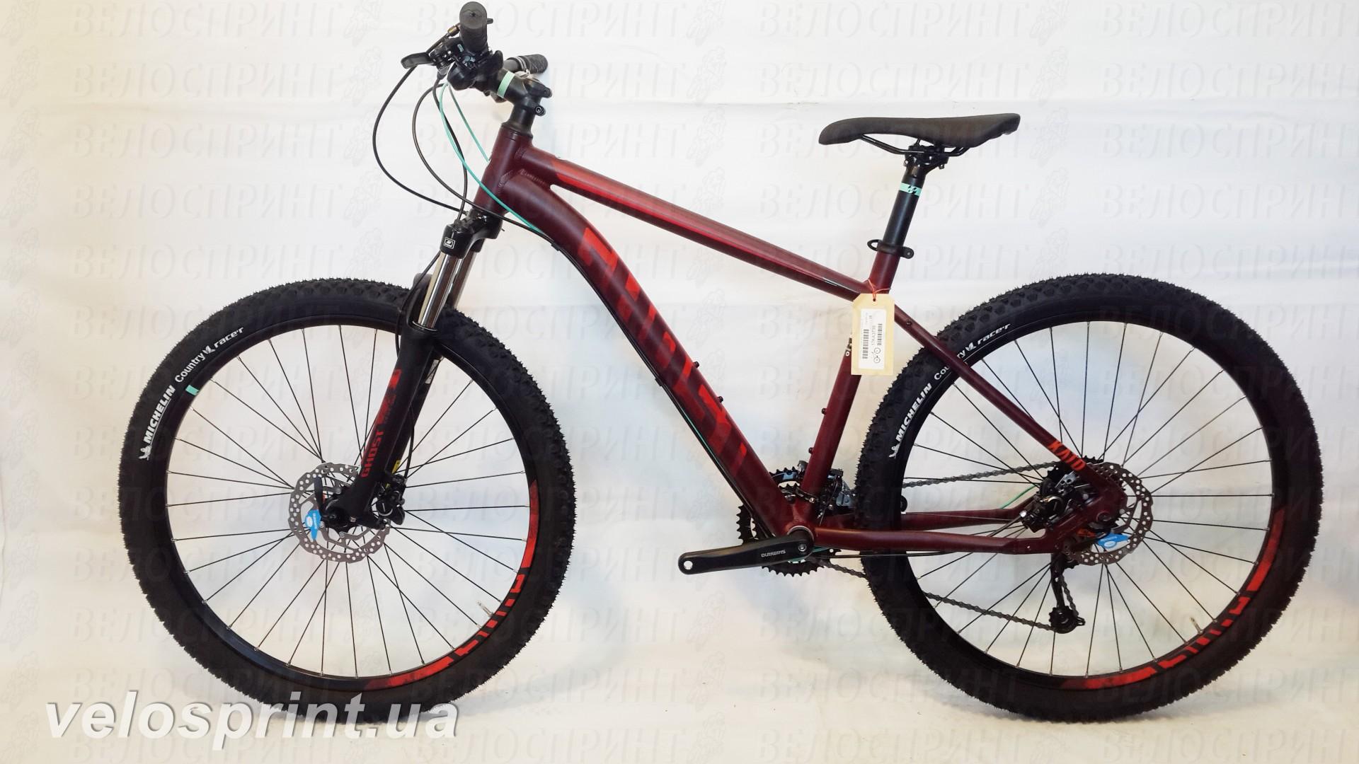 Велосипед GHOST Kato 3 AL 29 marsalared/cranberryred/jadeblue общий вид год 2017
