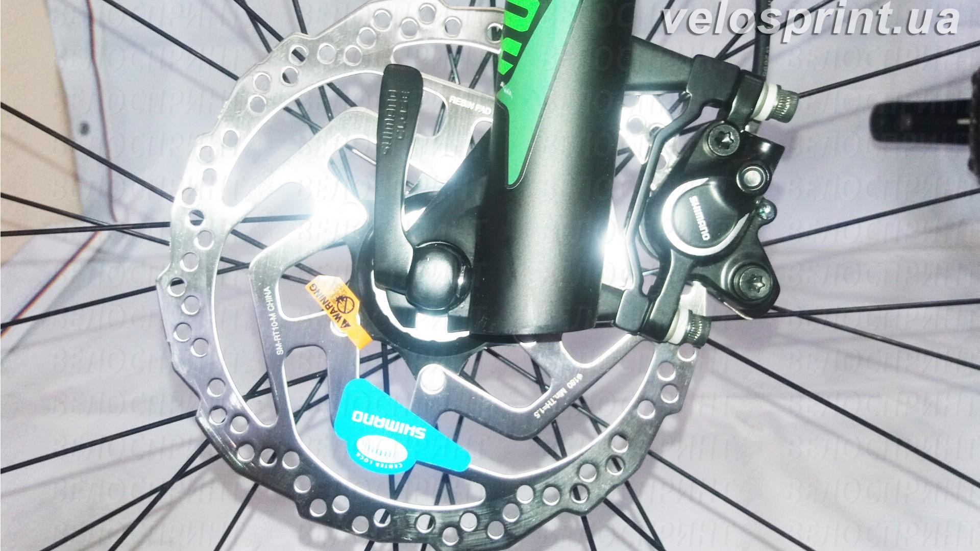Велосипед GHOST Kato 7 AL 29 nightblack/riotgreen/neonred передний тормоз год 2017