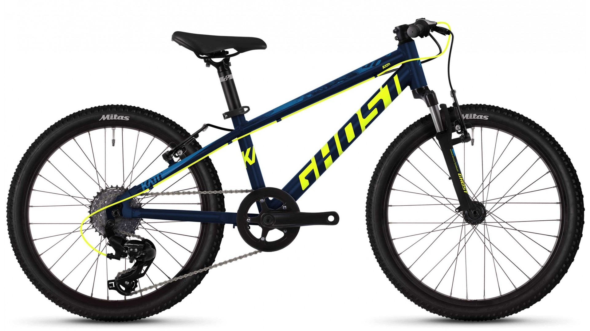Велосипед GHOST Kato Kid 2.0 AL U night blue / neon yellow / riot blue год 2018