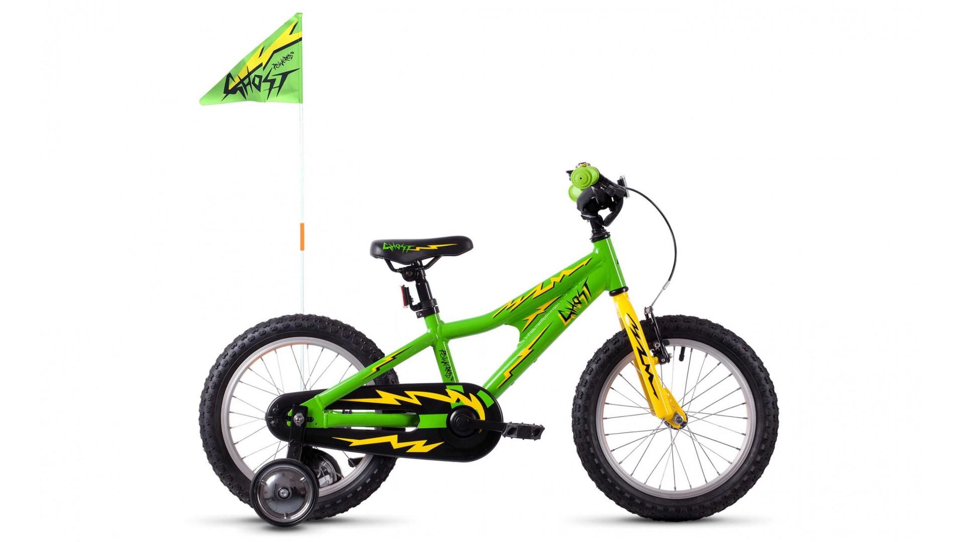 Велосипед GHOST POWERKID AL 16 K right green / cane yellow / night black год 2018