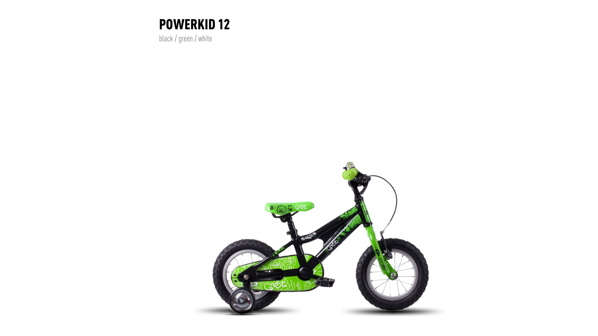 Велосипед GHOST Powerkiddy 12 black/green/white год 2016