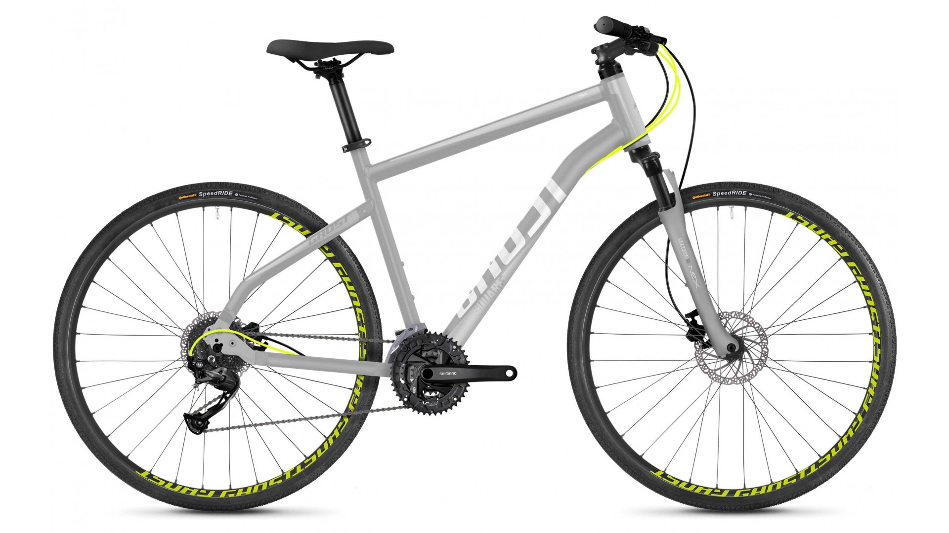 Велосипед GHOST Square Cross 1.8 AL U palladium silver / iridium silver / neon yellow год 2018