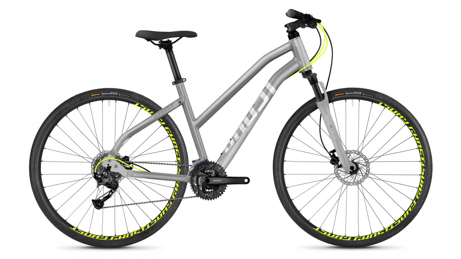 Велосипед  GHOST Square Cross 1.8 AL W palladium silver / iridium silver / neon yellow год 2018