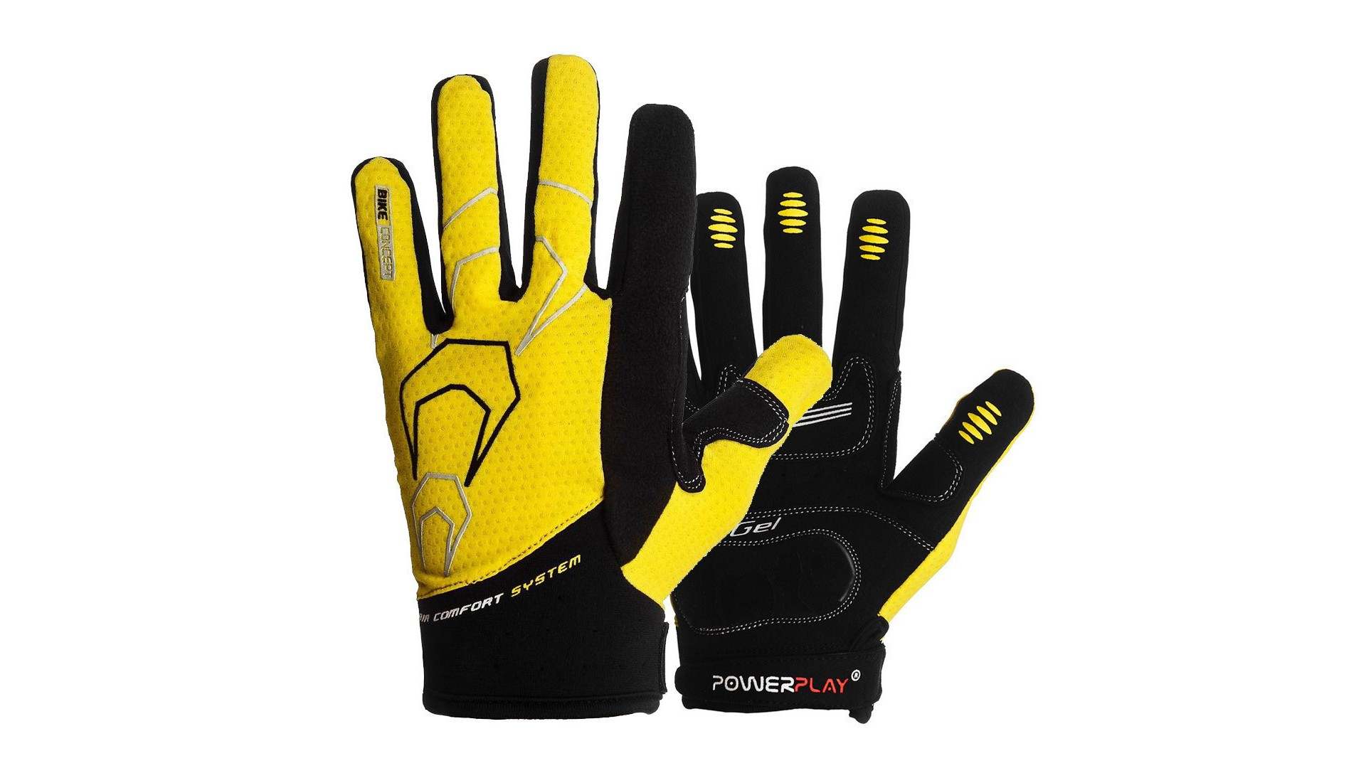 Велоперчатки PowerPlay 6556 летние длинный палец желто-черные