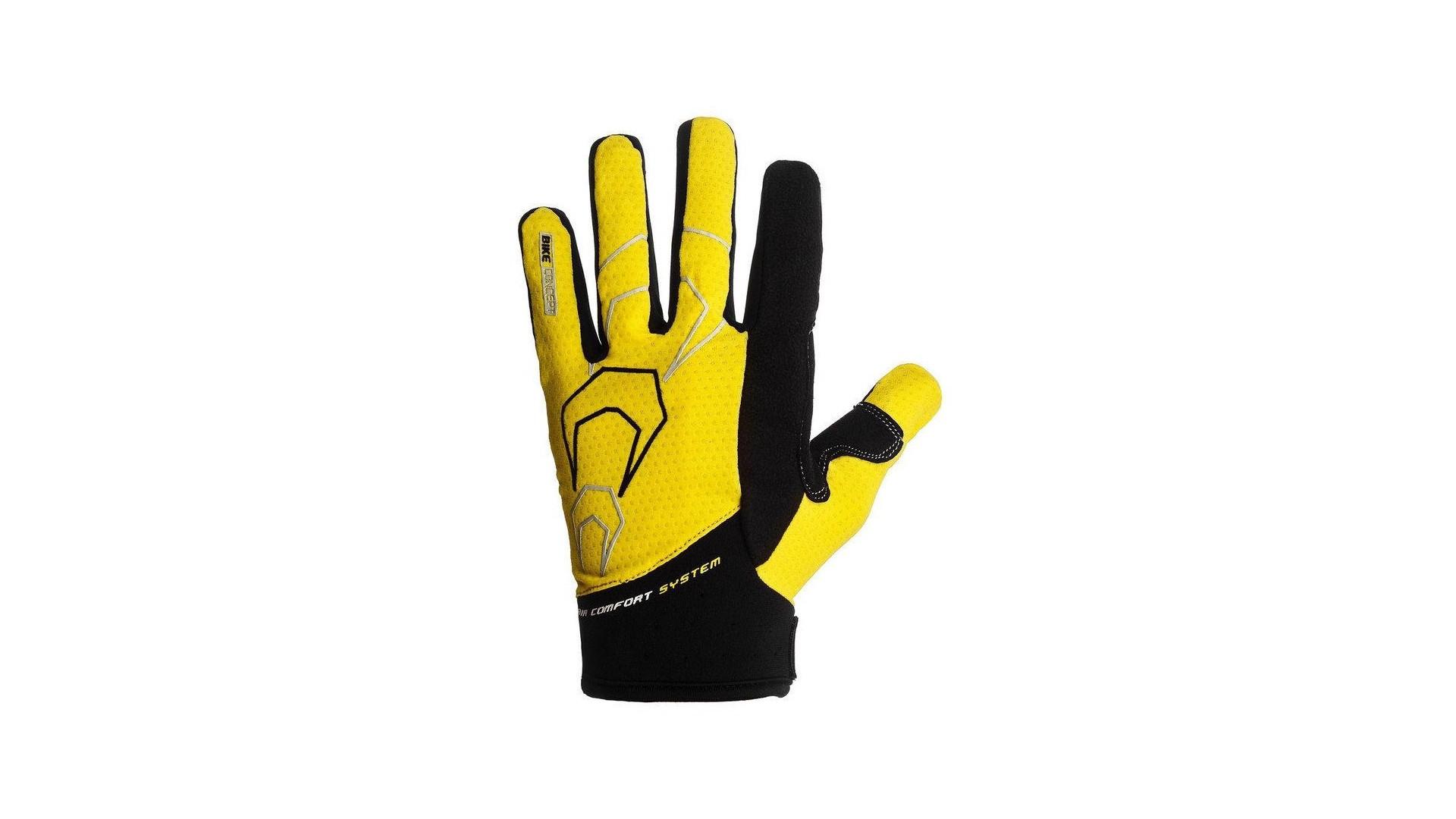 Велоперчатки PowerPlay 6556 летние длинный палец желто-черные фото2
