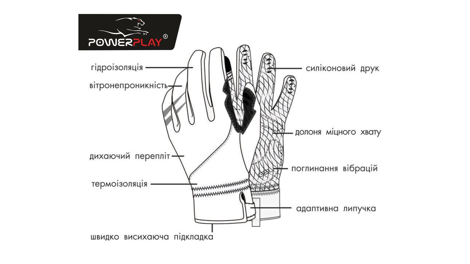 Велоперчатки PowerPlay 6556 летние длинный палец желто-черные фото3