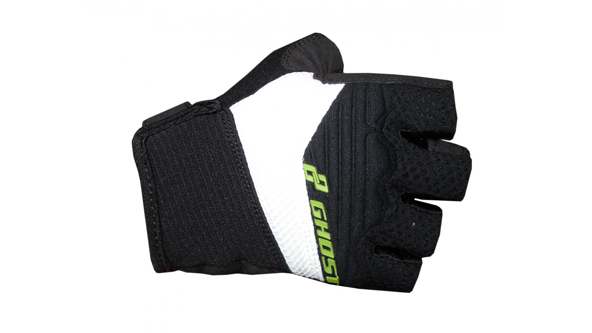 Велоперчатки Ghost летние короткие black/white/limegreen год 2015